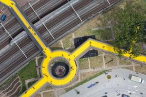 The crowdfunded Luchtsingel pedestrian bridge  in Rotterdam.