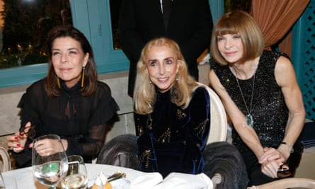 Franca Sozzani, centre, with Princess Caroline of Monaco, left, and the editor of US Vogue, Anna Wintour.