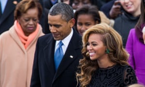 Beyonce with President Barack Obama at his swearing-in ceremony.