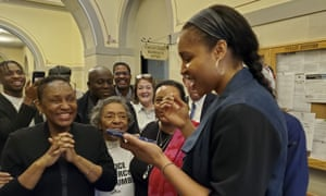 Maya Moore in March after learning a judge had paved the way for Jonathan Irons' release