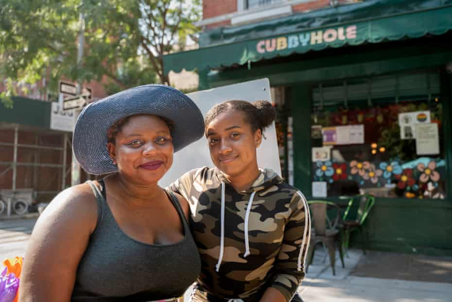 Mona Williams, left, and a friend outside the Cubbyhole.