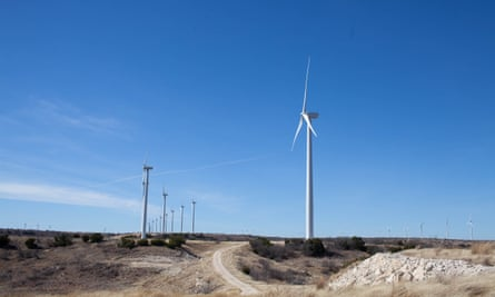 Turbines in a Texas wind farm pump energy to towns like Georgetown. While Texas is an oil-and-gas-centric state, Joey Romano, a solar farmer near Houston, believes it's also perfect for renewable energy.