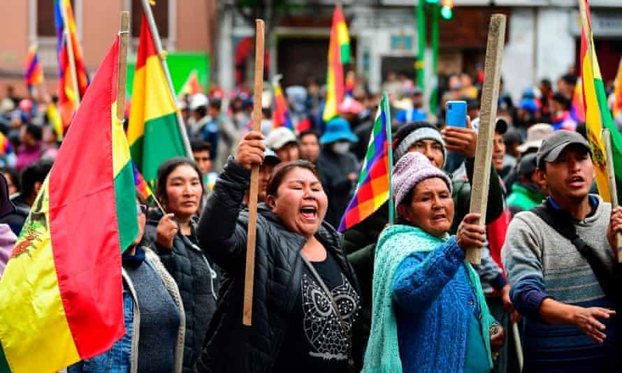 Supporters of Bolivian ex-President Evo Morales protest in La Paz on 12 November 2019.