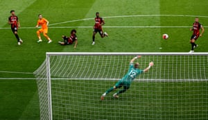 Miguel Almiron scores Newcastle United's third goal at Bournemouth.