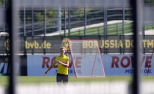 Dortmund's Erling Haaland in training on Thursday.
