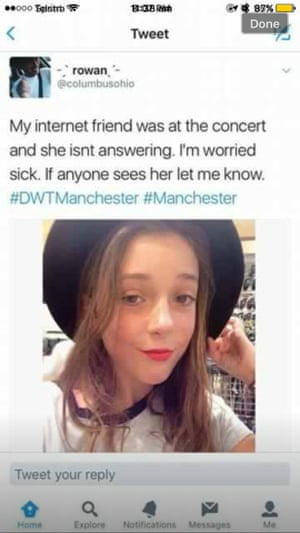 A tweet using Gemma Devine's image claims she was in Manchester, even though she lives in Australia.