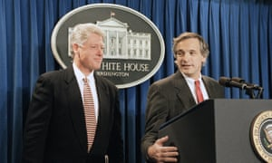 Washington DC, 1994: President Bill Clinton and assistant secretary of state Robert Gallucci brief reporters following the negotiation of a landmark nuclear disarmament deal with North Korea.