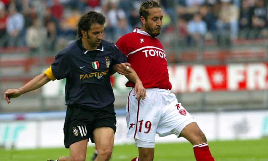 Al-Saadi Gaddafi takes on Alessandro Del Piero during Perugia's 1-0 win over Juventus.