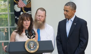 Jani Bergdahl speaks about the release of her son Sgt Bowe Bergdahl in the Rose Garden at the White House