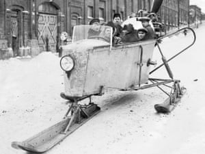 A propeller-powered sleigh in Moscow in 1929.