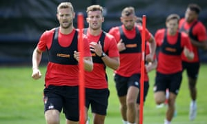 Simon Francis leads his Bournemouth team-mates. The club use a 1,600m time trial – the longest continuous run the players will do – as a barometer for who needs what during the rest of pre-season.