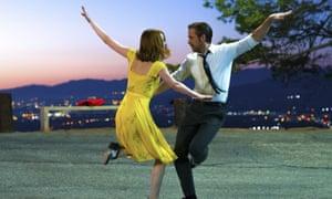 A wonderfully persuasive love affair … Ryan Gosling and Emma Stone in La La Land.
