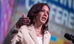 Kamala Harris delivers remarks during the National Association of Counties' conference today.