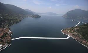 An aerial view of the installation by Bulgarian-born artist Christo on Lake Iseo in northern Italy.