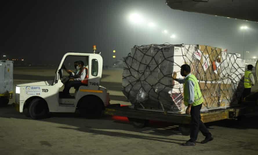 Ventilators from the UK arriving in Delhi, which is under lockdown.