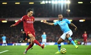 Liverpool's Trent Alexander-Arnold (left) and Raheem Sterling of Manchester City. All players will be consulted about wage drops.