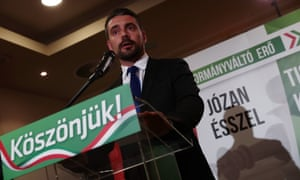 The Jobbik leader, Gábor Vona, reacts during a press conference to the results.
