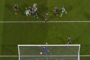 Cristiano Ronaldo, second left, opens the scoring.