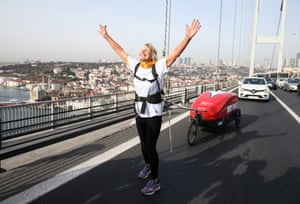 The 73-year-old British runner Rosie Swale Pope crosses the Bosphorus as part of a 6,000-mile run from Brighton to Nepal in aid of PHASE Worldwide