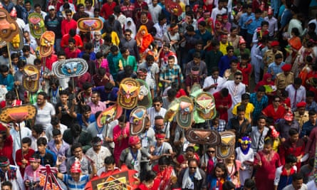 True colours … new year procession in Dhaka.