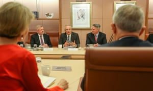Scott Morrison and Mathias Cormann at pre-budget 2018 cabinet meeting on Monday.