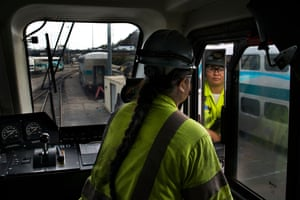 Jay Fatima Tapia is an equipment operator at a Bombardier railcar maintenance facility in Los Angeles.'I love hands-on work. My dad wanted me to be a doctor or a nurse like my sisters. But I wanted to work outside. Now I'm an equipment operator, and driving is my favorite thing to do.'