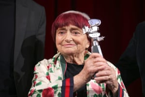 Varda on stage at the Berlinale Camera award ceremony during the 69th Berlinale International Film Festival in Germany in 2019