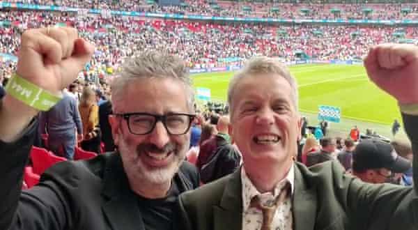 David Baddiel and Frank Skinner celebrating during England's Euros campaign.