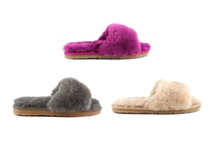 A treat for feet Slip your feet into a fluffy shearling slide. Mou's cosy sheepskin has a light and flexible rubber outsole for comfort and durability. £70, mou-online.com