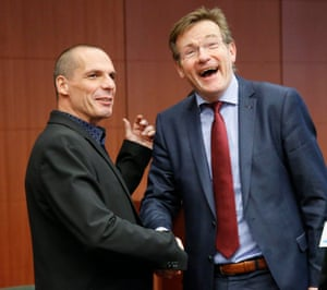 Yanis Varoufakis and Belgian Finance Minister Johan Van Overtveldt (R) at the start of the Eurogroup meeting of Finance ministers at the EU council headquarters, in Brussels, Belgium, 09 March 2015. The Eurogroup will discuss the current situation in Greece. EPA/OLIVIER HOSLET