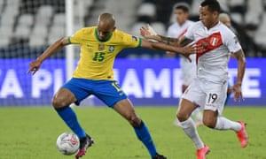 Fabinho in action for Brazil against Peru.