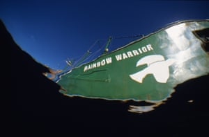 Bow view of Rainbow Warrior, Pacific Ocean