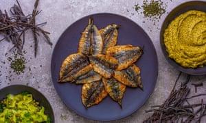 Nathan Outlaw sardines and seaweed salad cream