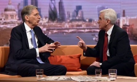 Philip Hammond, the chancellor, and his Labour counterpart, John McDonnell on Andrew Marr Show