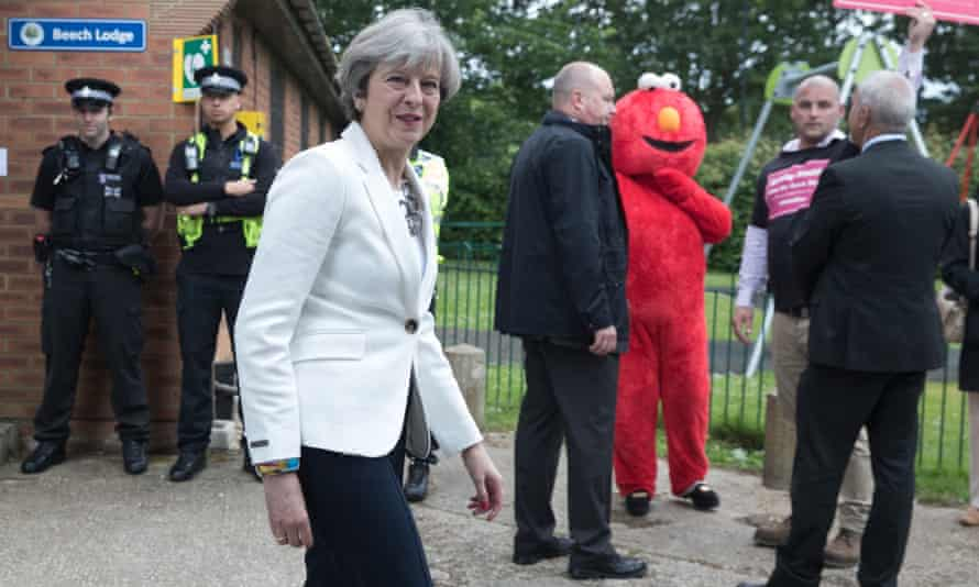 Theresa May casts her vote in the 2017 election in Sonning near Maidenhead