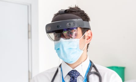 Dr Louis Koizia at St Mary's hospital, one of Imperial College NHS trust's sites, wearing a HoloLens headset