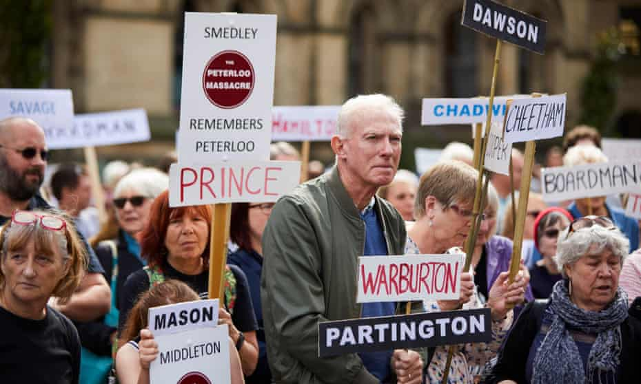 Campaigners in Manchester's Albert Square in August 2017 carrying the names of those killed or injured at Peterloo.