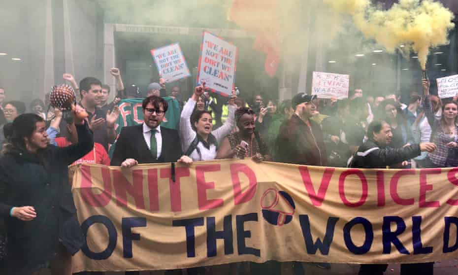 Cleaners at the Ministry of Justice and Kensington and Chelsea council on strike last year.