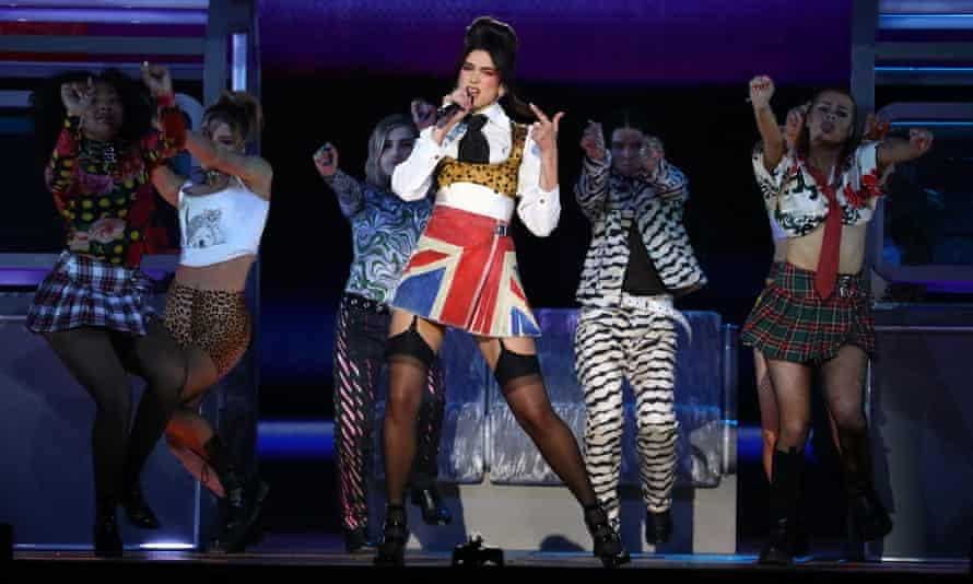 Dua Lipa performs during the Brit awards