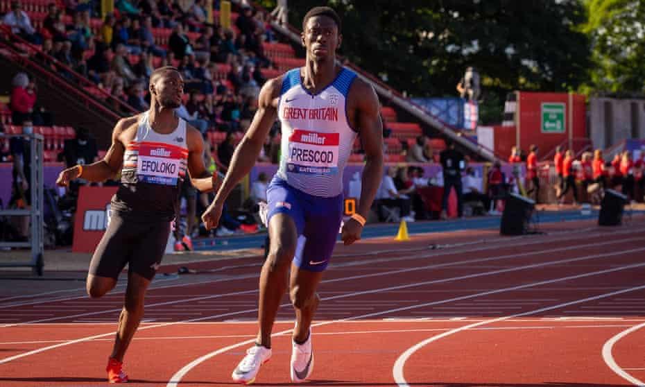 Reece Prescod after winning the 100m at Gateshead