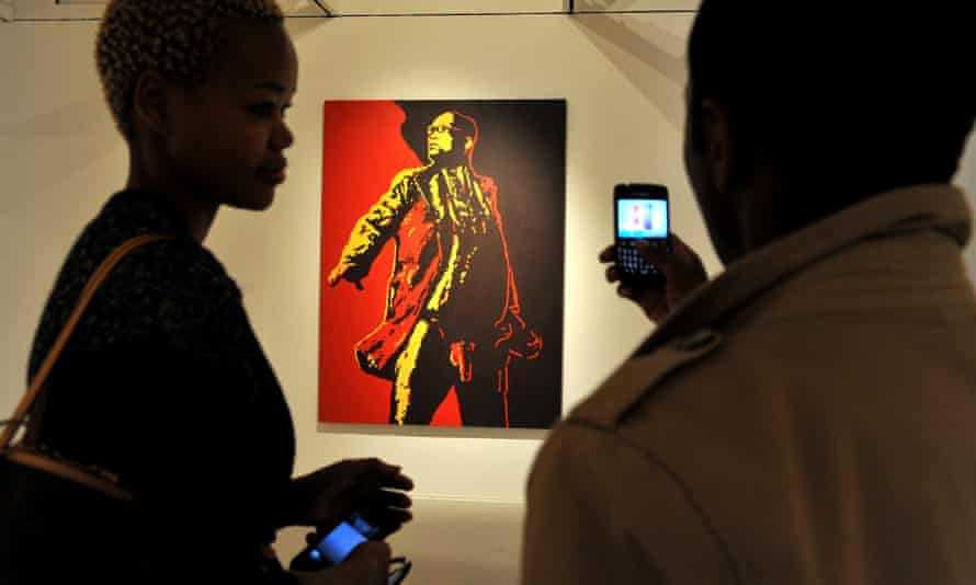 A painting entitled The Spear by the South African artist Brett Murray on display in Johannesburg in 2012.
