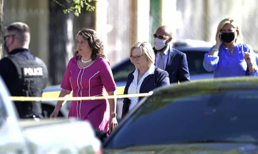 Knoxville's mayor, Indya Kincannon, left, arrives at the scene of a shooting at Austin-East magnet high school.