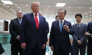 Trump with South Korean president Moon Jae-in after holding talks with Kim Jong-un.