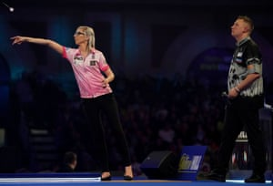 Fallon Sherrock at the oche during her match against Chris Dobey at the world championship