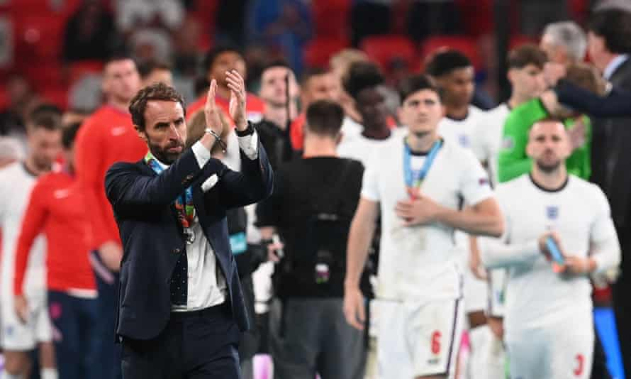 Gareth Southgate applauds the supporters at Wembley after England's agonising penalty defeat.