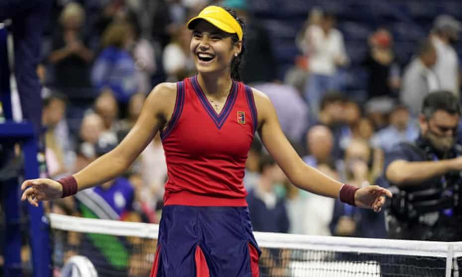 Emma Raducanu celebrates after beating Maria Sakkari to reach the US Open final