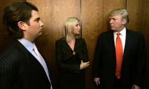Donald Trump, right, talks with his children Donald Jr and Ivanka in an elevator while visiting his Chicago offices and his 92-story residential tower under construction in 2006.