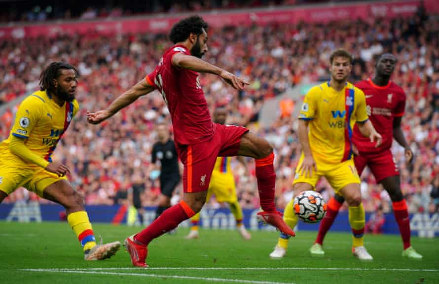 Mohamed Salah fires the second goal for Liverpool.
