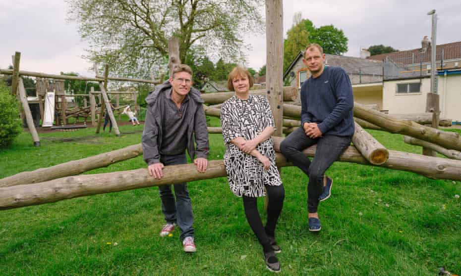 Andy Stokes, Pam Barrett and Darren Green in the park in Buckfastleigh they helped save.