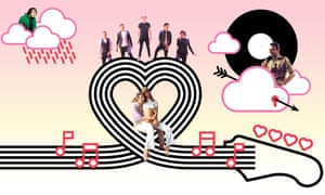 Illustration of heart-shaped guitar strings with Johnny Mathis, One Direction, Anohni, Serge Gainsbourg and Jane Birkin